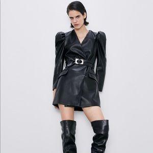 ZARA faux leather dress with belt
